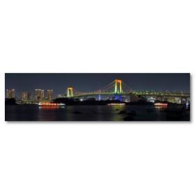 Αφίσα (κτίρια, αρχιτεκτονική, φώτα, γέφυρα, νύχτα)